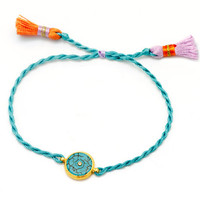 Turquoise string charm bracelet with a Turquoise gemstone charm - bat mitzvah gift idea