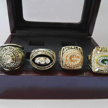 Green Bay Packers Championship Rings With Wooden Box 1966 1967 1996 2010