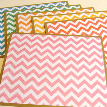 Chevron Rainbow Set of 6 Note Cards by prettypetalspaper on Etsy