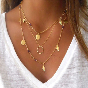 2017 Bohemian amethyst beads body chain Sequin coins 3 layers long Chokers Necklaces leaf tassel pendant jewelry n6