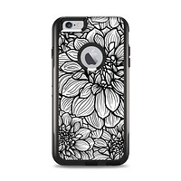 The White and Black Flower Illustration Apple iPhone 6 Plus Otterbox Commuter Case Skin Set