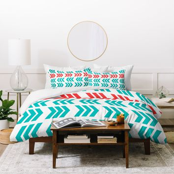 Lisa Argyropoulos Coral Pop and Aqua Zig Zag Duvet Cover
