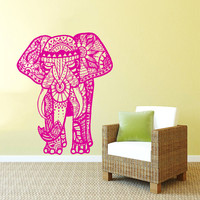 Wall Decal Vinyl Sticker Decals Art Home Decor Design Mural Indian Elephant Floral Patterns Mandala Tribal Buddha Ganesh Bedroom Dorm AN89