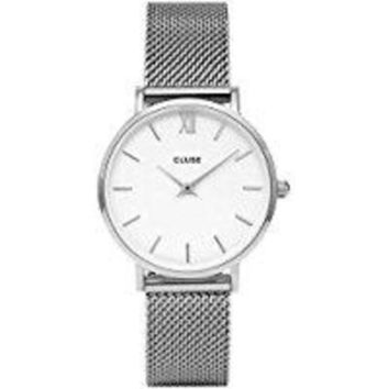 ICIK8TS CLUSE Minuit Round 33mm Analog Display Quartz Women's Watch, Stainless Steel Mesh Band
