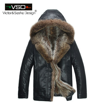 Fashion High Quality Men's Coats Imitation Leather Jacket Fashion Raccoon Fur Collar Leather Jackets Men
