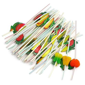 50pcs Hawaiian Theme 3D Fruit Summer Party Colorful Cocktail Fruit Shape Drink Straw Funny Drinks Decor Drinking Straw AS0101