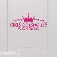 Girls Clubhouse Vinyl Wall Art FREE Shipping Fun by showcase66
