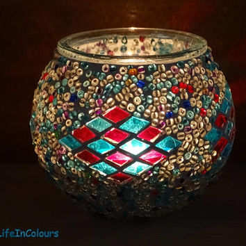 Decorative glass mosaic colourful handmade unique candle holder, pencil holder, little mosaic vase.