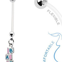 Baby Building Blocks Dangle 14g BioFlex Maternity Pregnancy Pregnant Navel Bio Flex Navel Belly Button Ring
