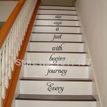 Home Stair Decal - Every Journey Begins ..Stairway Vinyl Decal