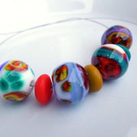 Lampwork Beads, Bright Autumn Colors, Stripes Scrolls Dots, Handmade glass Beads for artisan Lampwork Jewelry