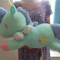 "23"" Sanrio Little Twin Stars Cotton Blue Candy Unicorn Pillow Plush Doll  L NWT"