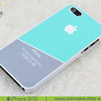 iPhone 5 Case iPhone 5S Case iPhone 5S Cover iPhone 5/5S Cover Rubber iPhone 5/5S Geometric design grey and tiffany blue
