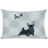 """Pup Words Scottie"" Indoor Throw Pillow by April Heather Art, 14""x20"""