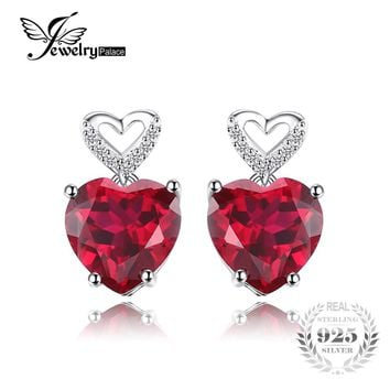 JewelryPalace Love Heart 7.2ct Created Red Ruby Drop Dangle Earrings 925 Sterling Silver Best Wedding Jewelry Earrings For Women