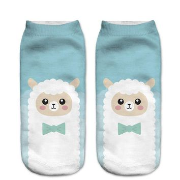 Blue Cartoon Alpaca Cute Low Cut Ankle Socks Funny Crazy Cool Novelty Cute Fun Funky Colorful