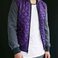 Feathers Cano Quilted Jacket- Purple