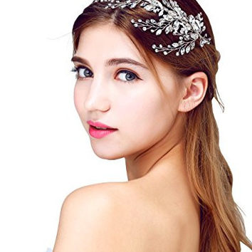Babeyond® Beaded Sparkly Crystals Flower Leaf Bunch Bridal Headband Beads Hair Accessory for Bride