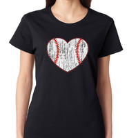 Black Baseball Heart Crewneck Tee