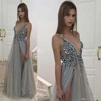 2019 Silver-Gray Charming Beading Prom Dresses Tulle V-neck Evening Dress Floor Length Formal Dress A1556