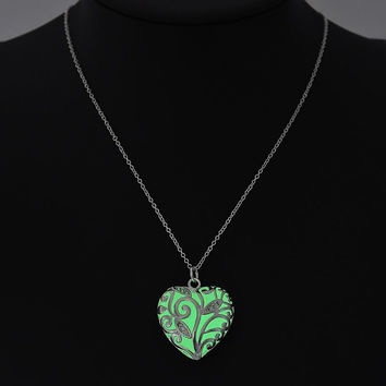 Green glow in the dark silver heart pendant necklace, key ring, or rear view mirror hanger