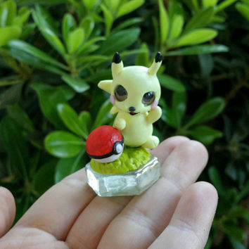 Pokemon Go Pikachu and Pokeball polymer clay figure//collectible//miniature//magnetic//customs welcome