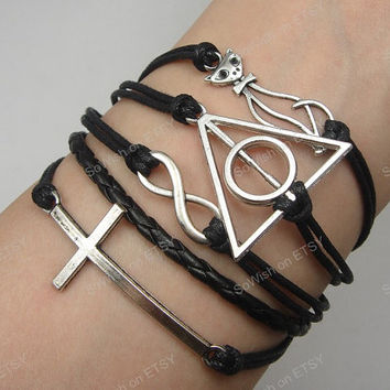 Deathly Hallows& Cat Charm Bracelet, Harry Potter bracelet, infinity, cross - antique sliver bracelet-wax cords bracelet-Best Gift-M060