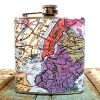 6 oz Stainless Steel - The Wanderlust Flask (TM) - Map of New York