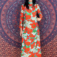 Vintage 70s Mod Psychedelic Flower Print Concept 70s Swirl Satiny Polyester Slinky Long Aline High Neck Maxi Dress S // M