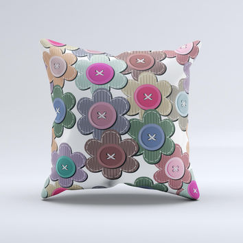 Striped Vector Flower Buttons  Ink-Fuzed Decorative Throw Pillow