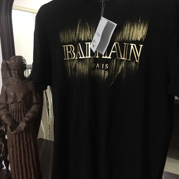 Balmain T Shirt 'Size Eu. 2XL' (Gold Flash Balmain Logo!!)
