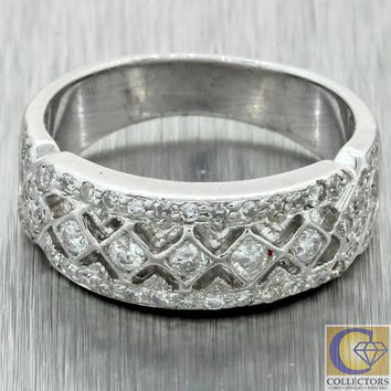 Vintage Estate 14k White Gold .70ctw Diamond 3mm Wide Eternity Band Ring