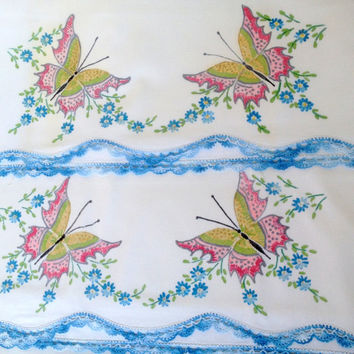 Vintage Cutter Pillowcases (2) Liquid Embroidery Fabric Paint Butterflies, Flowers, Blue Crocheted Lace Edge cutter for crafts, sewing, art