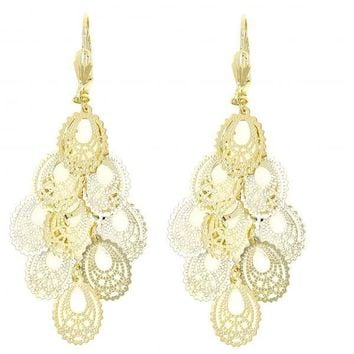 Gold Layered 5.109.006 Chandelier Earring, Filigree and Teardrop Design, Polished Finish, Gold Tone