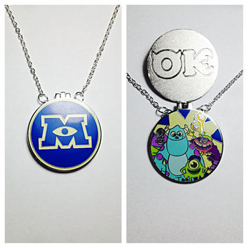 PINdant Necklace- Upcycled Disney Trading Pin- Monster's Inc Monster's U Magnetic Locket with Oozma Kappa Guys