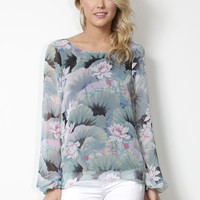 Show Me Your Mumu Jade Water Lily Blouse