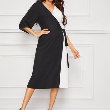 Two Tone Wrap Belted Midi Dress