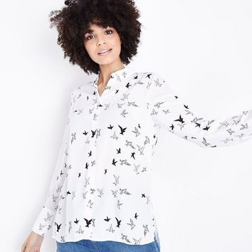White Contrast Bird Print Shirt | New Look