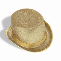 Costume Top Hats Gold Glitter Top Hat