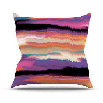 "Nina May ""Artika Sunset"" Purple Orange Outdoor Throw Pillow"
