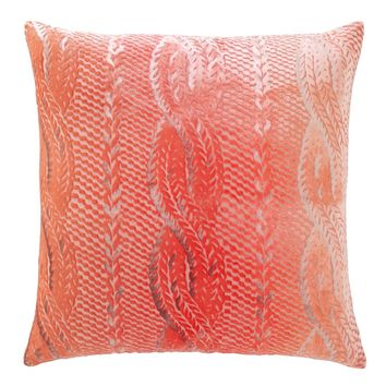 Coral Cable Knit Velvet Pillows by Kevin O'Brien Studio