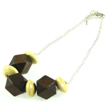 Geometric Wooden Bead Necklace in Boho Style, Statement Necklace in Brown and Beige.