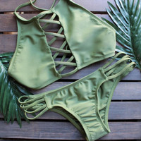 New Summer Sexy Women bikini Solid Color swimsuit High Neck Hollow Out Swimwear -0711