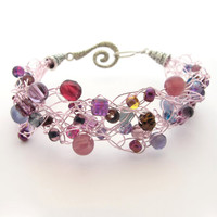 Crochet Wire Beaded Bracelet Purple & Pastel Pink by MoonlightShimmer