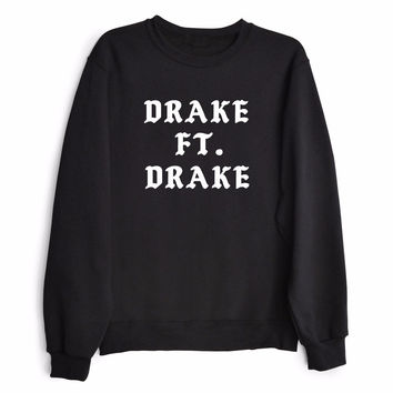 DRAKE FT. DRAKE Women's Casual Black Gray & White Crewneck Sweatshirt