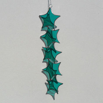 Teal Stained Glass Suncatcher, Teal Star Cascade Lightcatcher