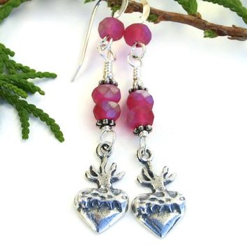 Milagro Heart and Crown of Thorns Earrings, Raspberry Pink Handmade Artisan Dangle Jewelry