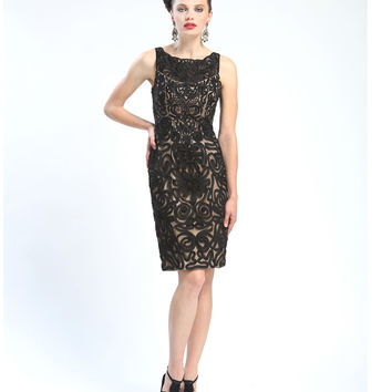 Sue Wong N4406 Black & Nude Scalloped Neck Embroidered Dress Fall 2015