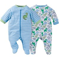 Gerber Newborn Baby Boy Zip Front Sleep N Plays, 2-Pack - Walmart.com