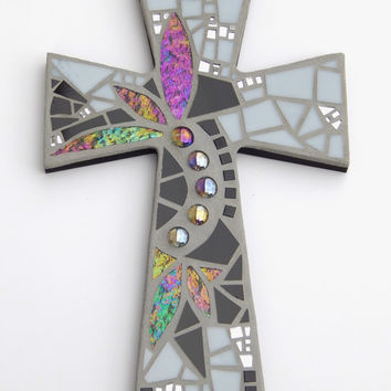 "Mosaic Wall Cross, Large, Black + Gray + Iridescent + Textured Glass + Mirror,  Handmade Stained Glass Mosaic Cross Wall Decor, 15"" x 10"""